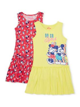 Disney Minnie Mouse Exclusive Girls' 4-12 Drop Waist Dress, 2-Pack