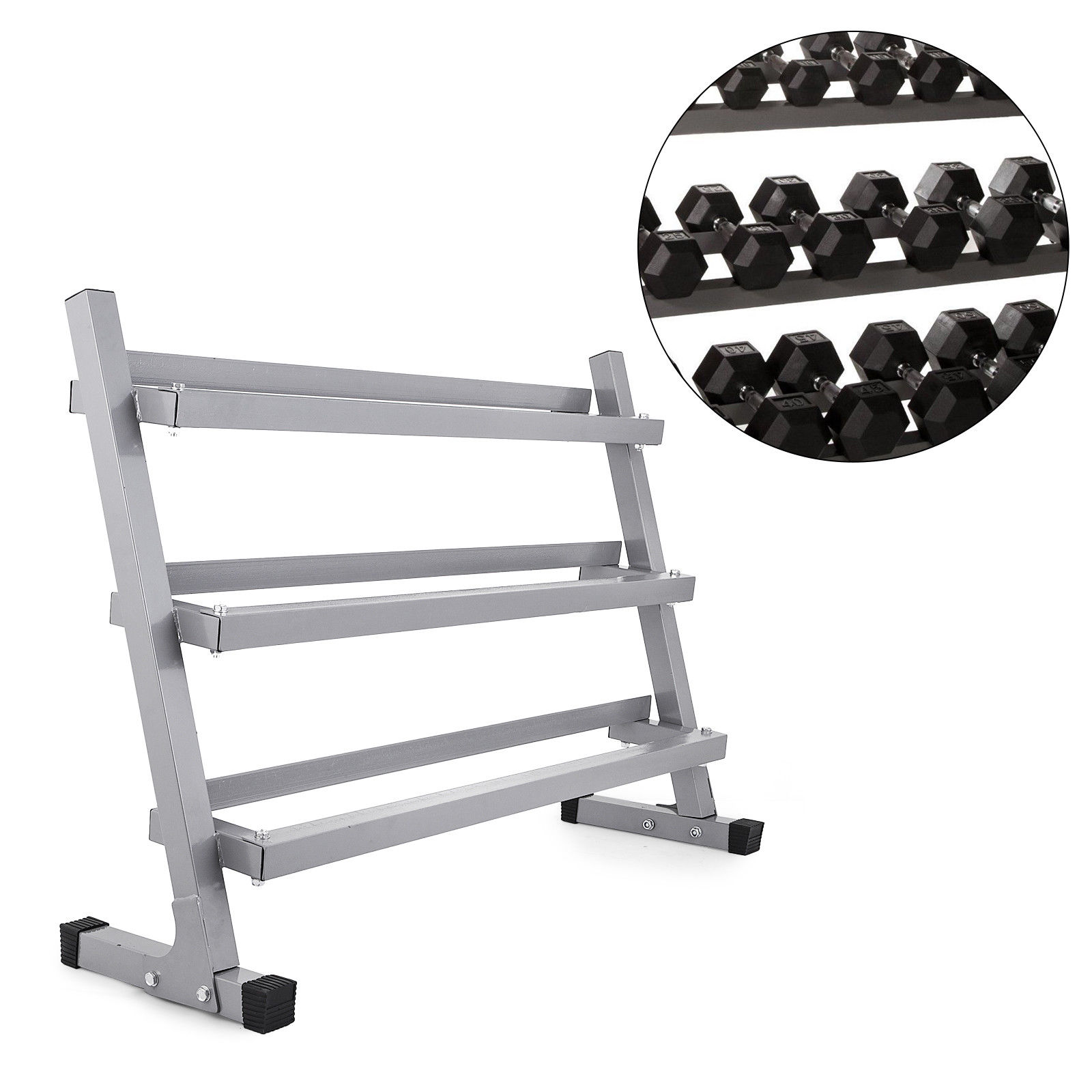 BestEquip 3 Tier Dumbbell Rack 660LBS Multilevel Rack Loaded Dumbbells Weight Storage Organizer Dumbbell Sets for Home Gym and Commercial Use