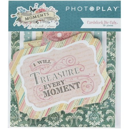MT8876 Cardstock Die-Cuts, Multicolor, From photoplay paper's Moments In Time collection, one package with 29 cardstock die cut embellishments By Moments In Time