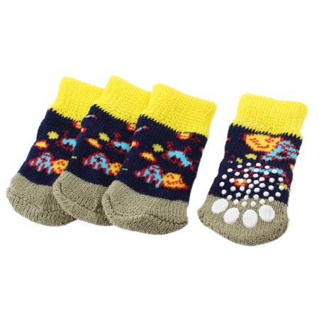 Unique Bargains 2 Pairs Tri Color Paw Print Stretchy Knitting Pet Dog Puppy Doggy Socks S - Puppy Paw Print