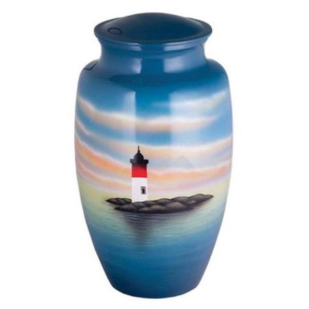 Hand Painted Metal Cremation Urn - Cremation Urn - Solid Metal Funeral Urn - Handcrafted Adult Funeral Urn for Ashes - Great Urn Deal with Free Bag (Light House)