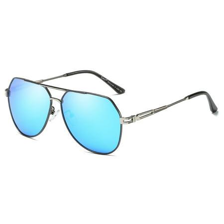 6848f94292 Cyxus - Cyxus Aviator Polarized Sunglasses with Matte Gray Frame Blue Lens  for UV Protection Anti Glare