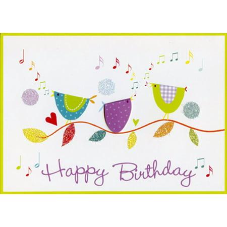 Paper Magic Birds Singing Hand Assembled Birthday Card (Birthday Card Singing)