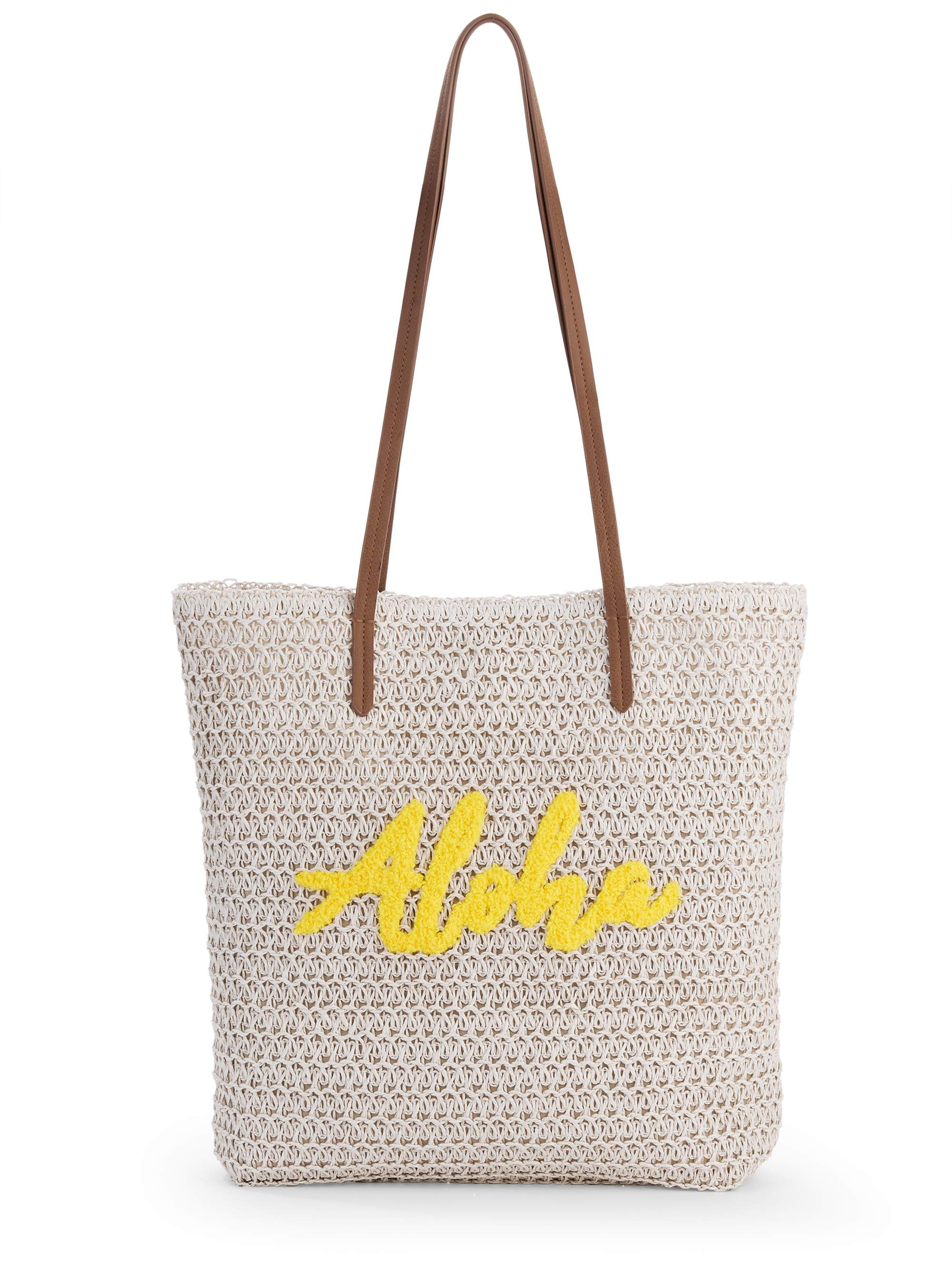 "Time & Tru ""Aloha"" Packable Straw Tote"