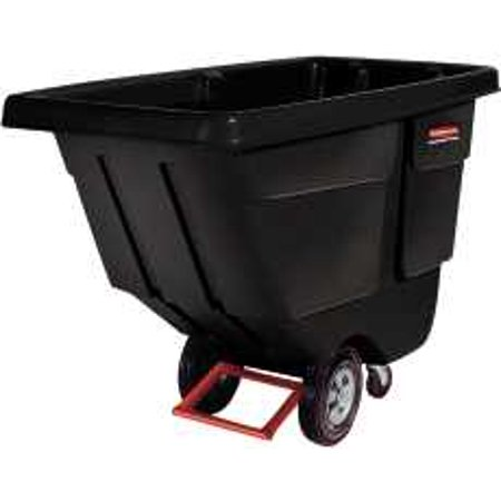 Rubbermaid Commercial Rotomolded Tilt Truck, Rectangular, Plastic, 850lb Cap, Black - Black Tilt Truck