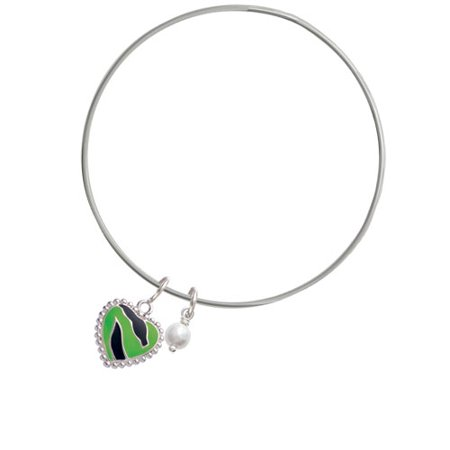 Lime Green Zebra Print Heart - Imitation Pearl Bicone Bangle Bracelet - Lime Green Zoot Suit