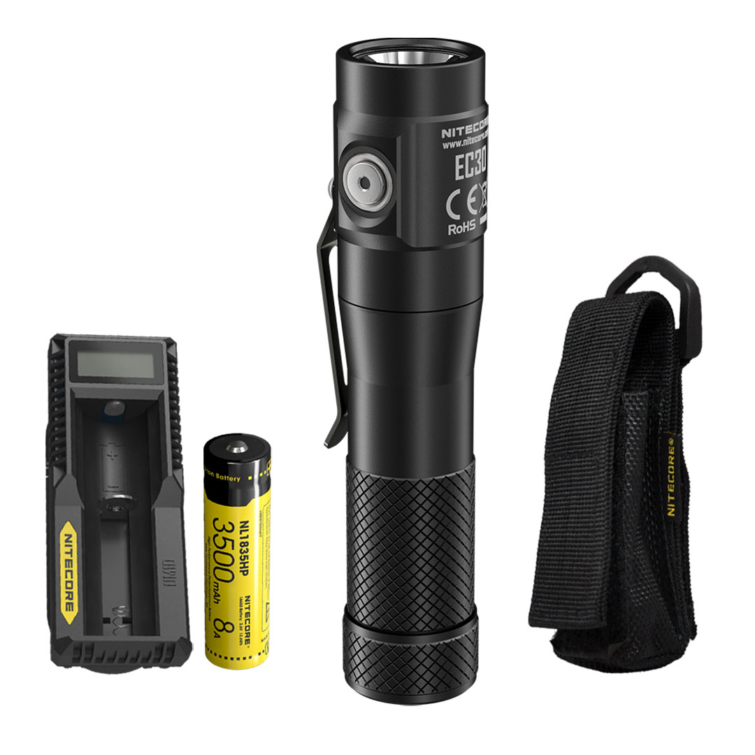 NITECORE EC30 1800 Lumen Ultra Compact Flashlight with Battery and Charger