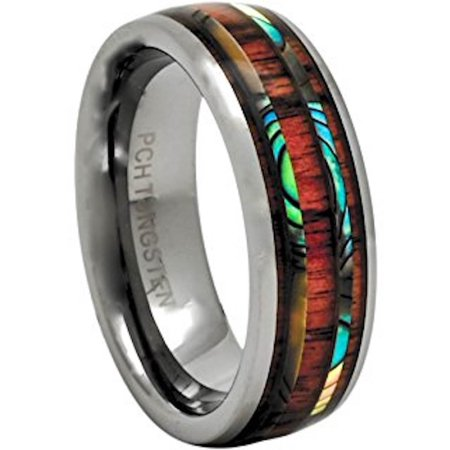 Pch Jewelers Men S Women S Tungsten Ring Abalone Koa Wood Wedding