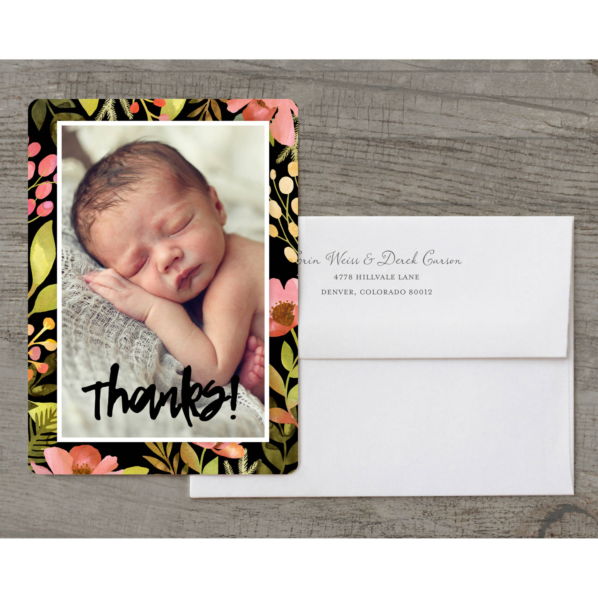 Bright Floral Deluxe Baby Thank You Card