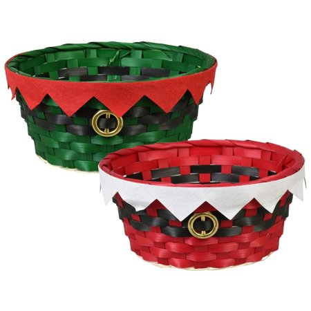 Christmas House Round Christmas Woven Bamboo Baskets, 9x4 in.-Red ()