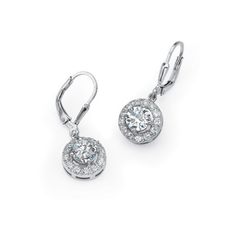 2 35 Tcw Round Cubic Zirconia Halo Drop Earrings In 925 Sterling Silver
