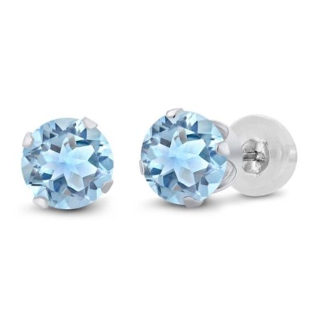 Genuine 3 Carat Natural 7mm Round Shaped Swiss Blue Topaz Stud Earrings In 925 Sterling Silver
