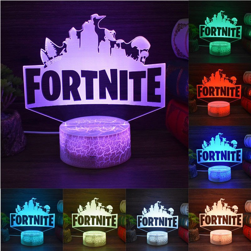 3D Lamp FORTNITE Sign LED Night Light 7 Colors USB Touch Remote Desk Lamp Gifts(Fortress night)