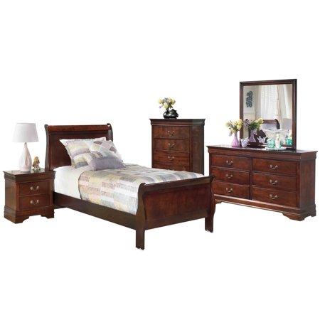Ashley Furniture Alisdair 5 PC Bedroom Set: Twin Sleigh Bed 1 Nightstand  Dresser Mirror Chest Dark Brown - Walmart.com