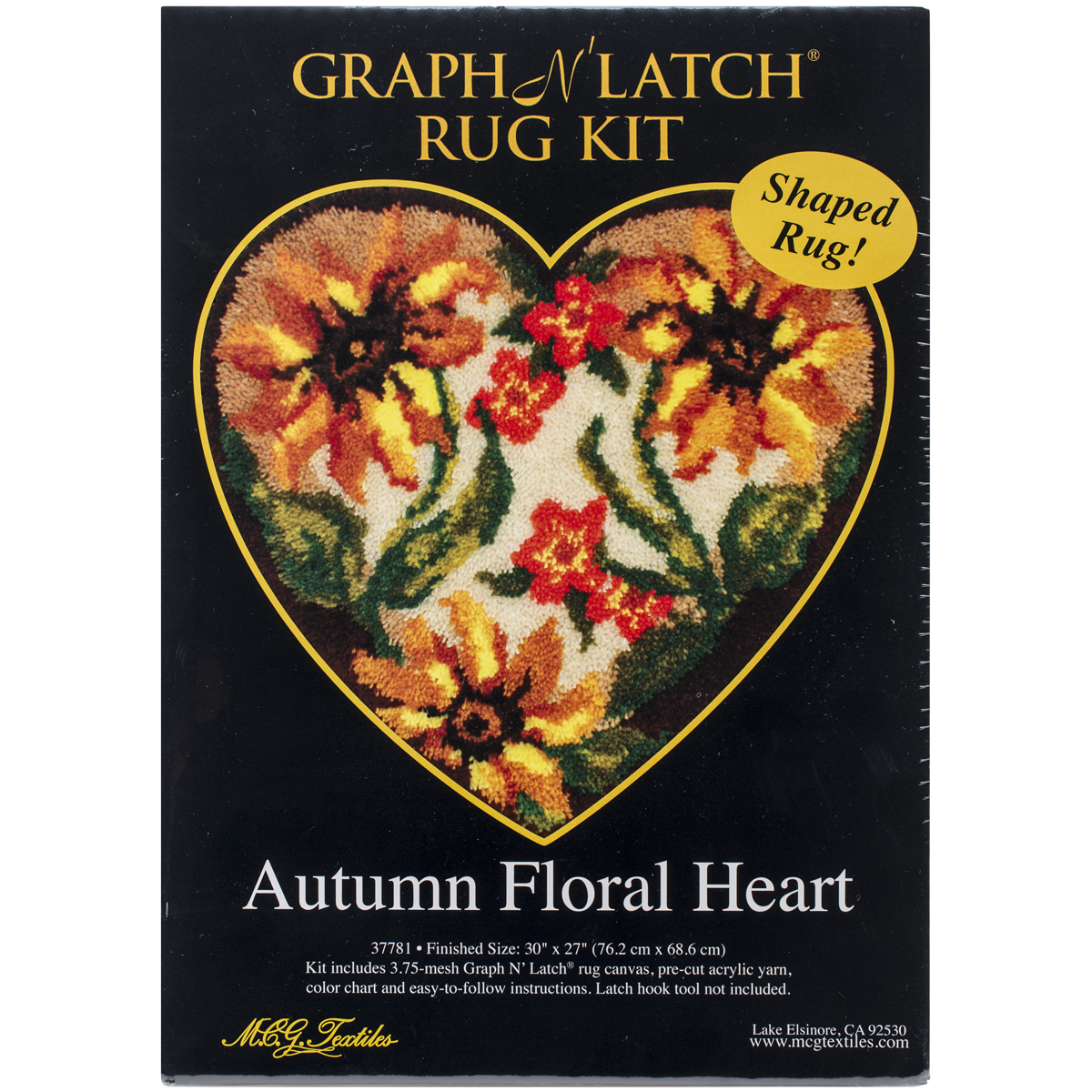 M.C.G. Textiles Latch Hook Kit, 30 by 27-Inch, Autumn Floral Heart Multi-Colored
