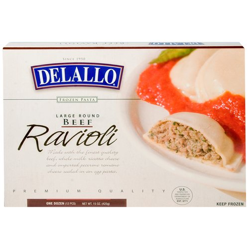 Delallo Large Round Beef Ravioli, 12 count, 15 oz