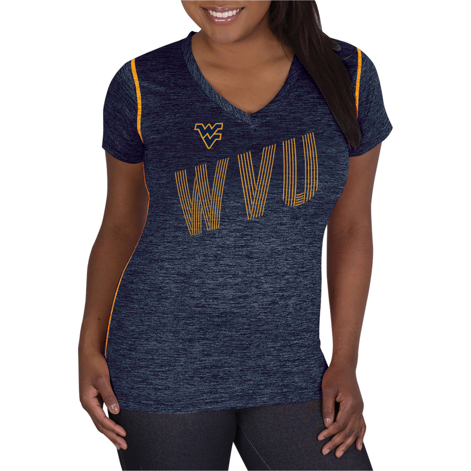 NCAA West Virginia Mountaineers Ladies Classic-Fit Synthetic V-Neck Tee