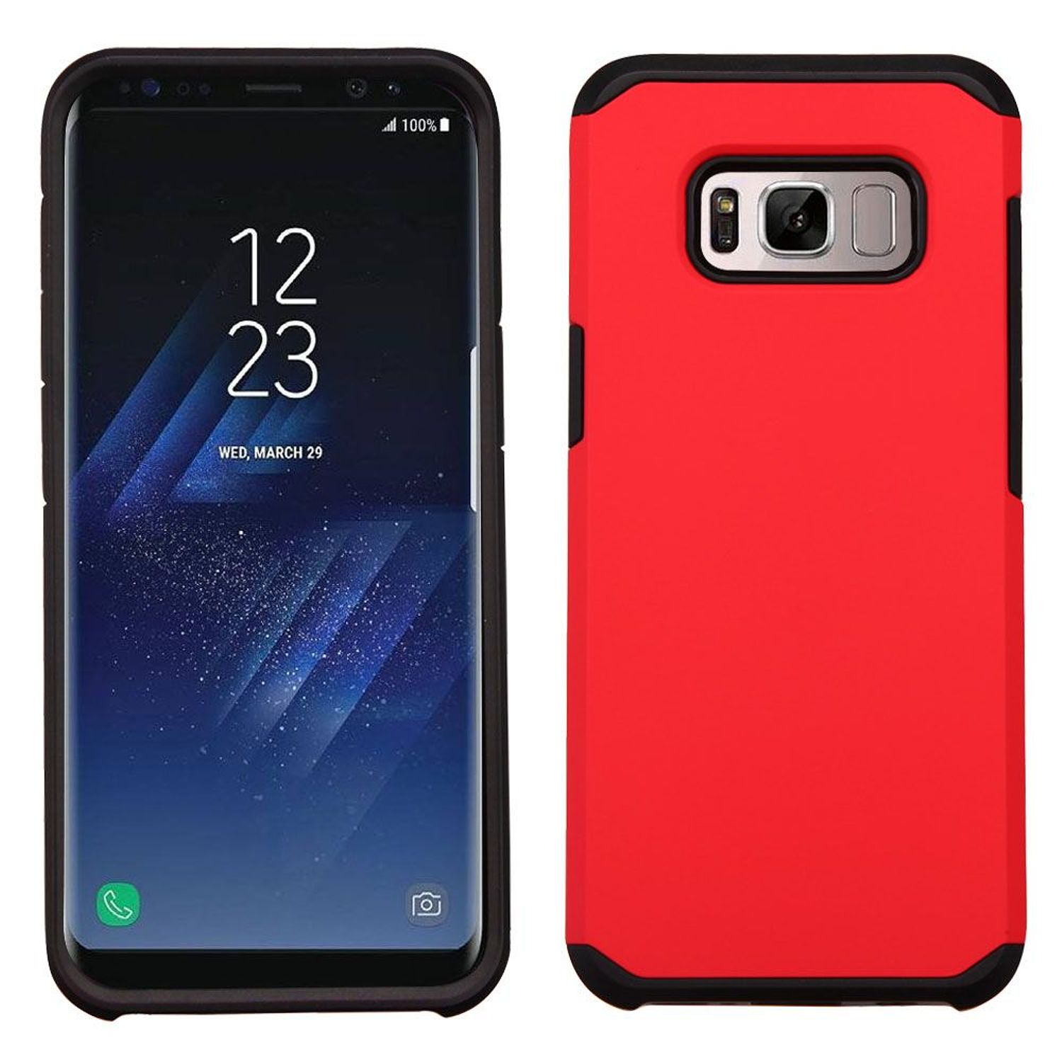 Samsung Galaxy S8+ Case, Samsung Galaxy S8 Plus Case, by Insten Dual Layer [Shock Absorbing] Hybrid Hard Plastic/Soft TPU Rubber Case Phone Cover For Samsung Galaxy S8 Plus S8+, Red/Black