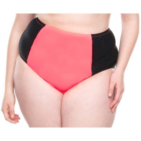 Moxi Blu Womens Plus Size Retro High Waisted Bikini Bottom