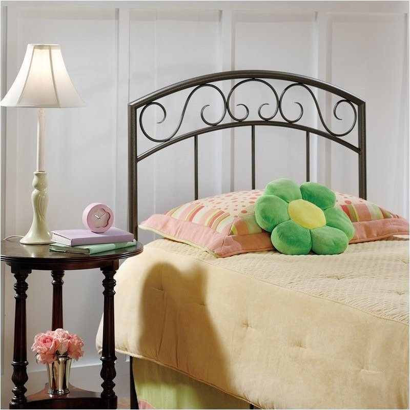 Hawthorne Collections Twin Metal Spindle Headboard in Copper Pebble