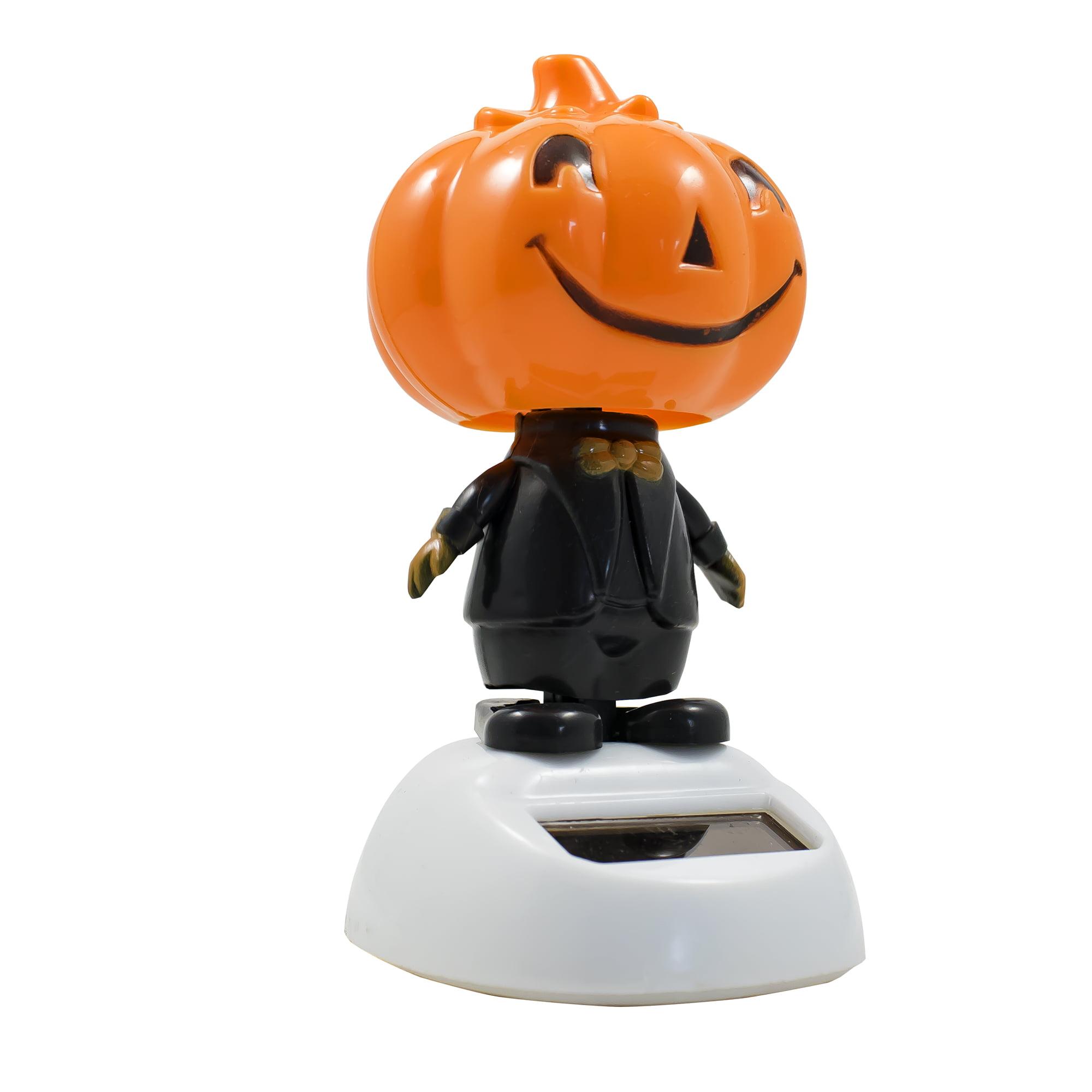 Halloween Solar Power Motion Toy Figurine Light Activated Car Office Home Decor Cute Novelty Gift Suncatcher Smile Pumpkin