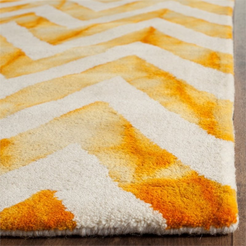 "Safavieh Dip Dye 2'3"" X 6' Hand Tufted Wool Pile Rug in Ivory and Gold - image 8 of 10"