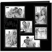"Sewn Embossed Collage Frame Post Bound Album 12""X12""-Family - Black"