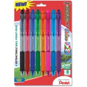 Pentel RSVP RT COLORS Retractable Ballpoint Pen, (1.0mm) Medium Line, Asstd Ink (A/B/C/D/F/P/S/V) 8-Pk