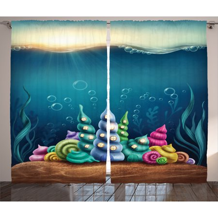 Ocean Life  Curtains 2 Panels Set, Underwater Fantasy Kingdom with Shell Houses Water Bubbles Cartoon Illustration Print, Living Room Bedroom Decor, Teal Brown, by Ambesonne