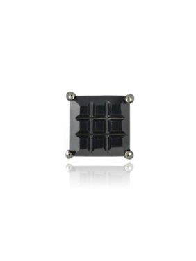 Sterling Silver Black Rhodium Overlay Black CZ Checkerboard 7mm Men's Stud Earring