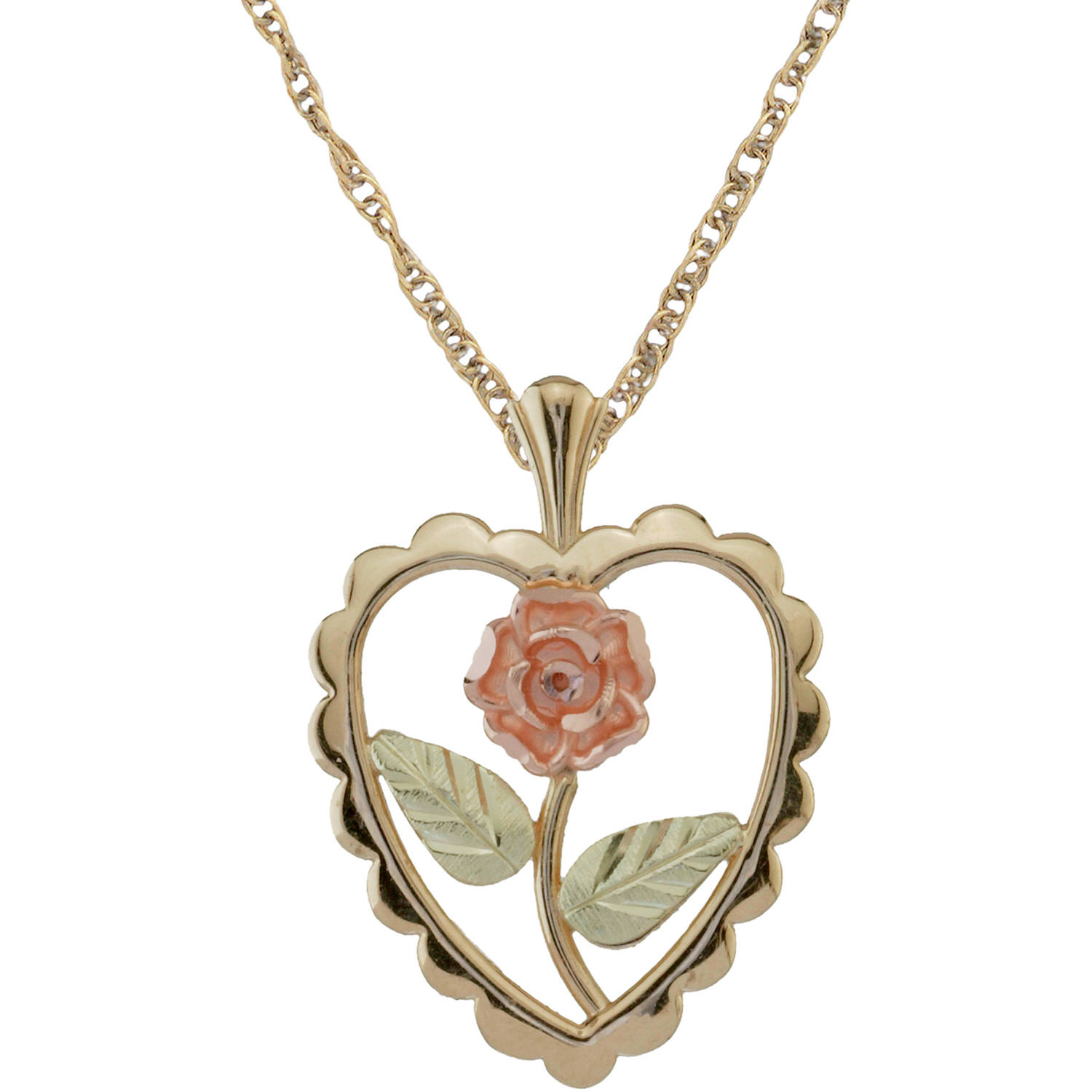 Black Hills Gold Jewelry by Coleman Co. 10kt and 12kt Black Hills Gold over Sterling Silver Rosebud/Heart Pendant, 18""