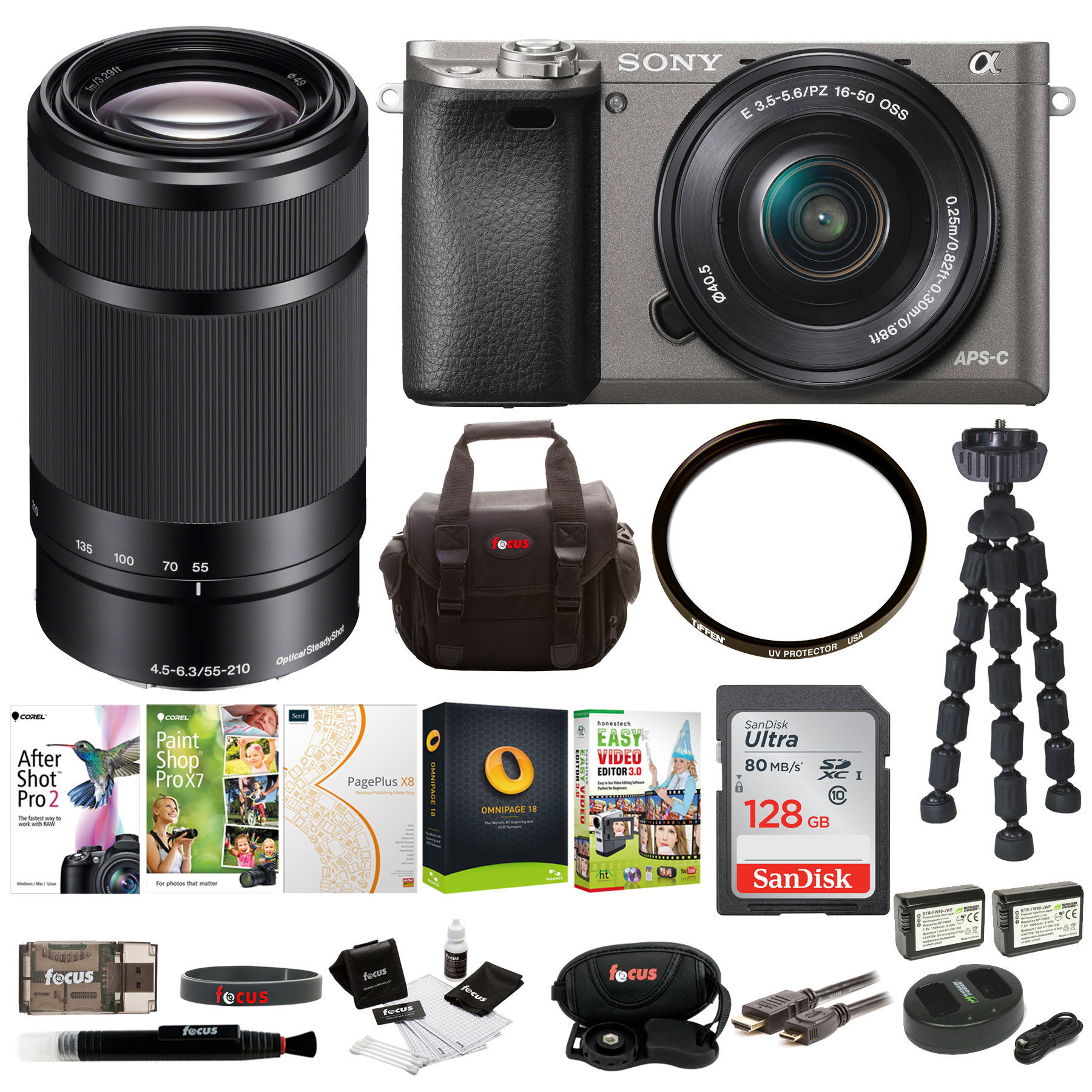 Sony Alpha a6000 Camera (Graphite) w/ 16-50mm & 55-210mm Lenses + 128GB Card + Software Suite + Accessory Bundle