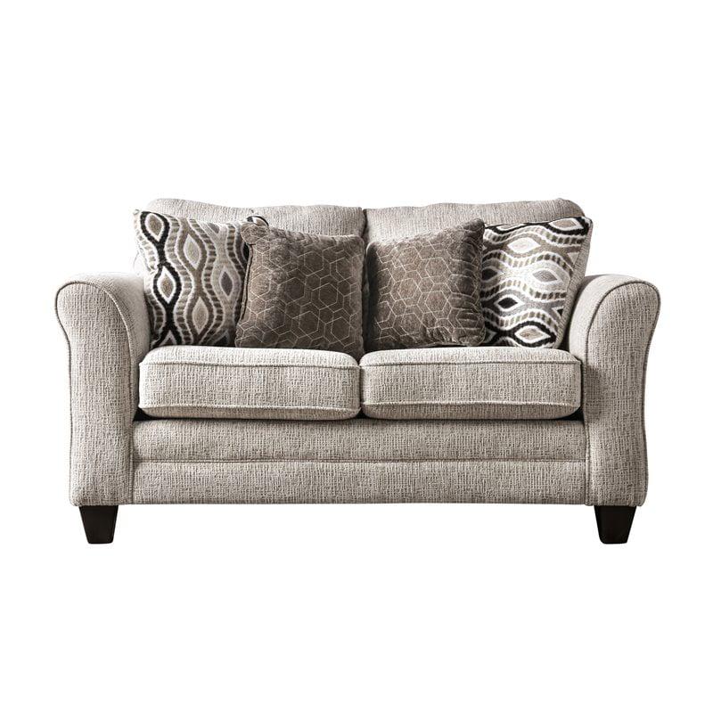 Furniture of America Elegtra Chenille Loveseat in Light Gray