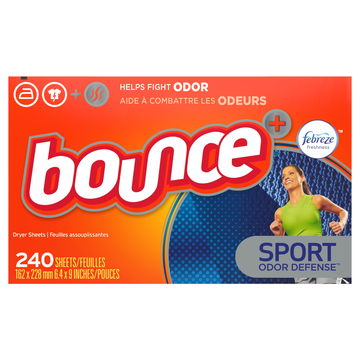 Bounce Plus Febreze Sport Odor Defense Fabric Softener Dryer Sheets, 240 Count