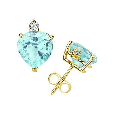 5mm Heart Aquamarine and Diamond Stud Earrings in 14K Yellow Gold (Baby Earrings Birthstones March)
