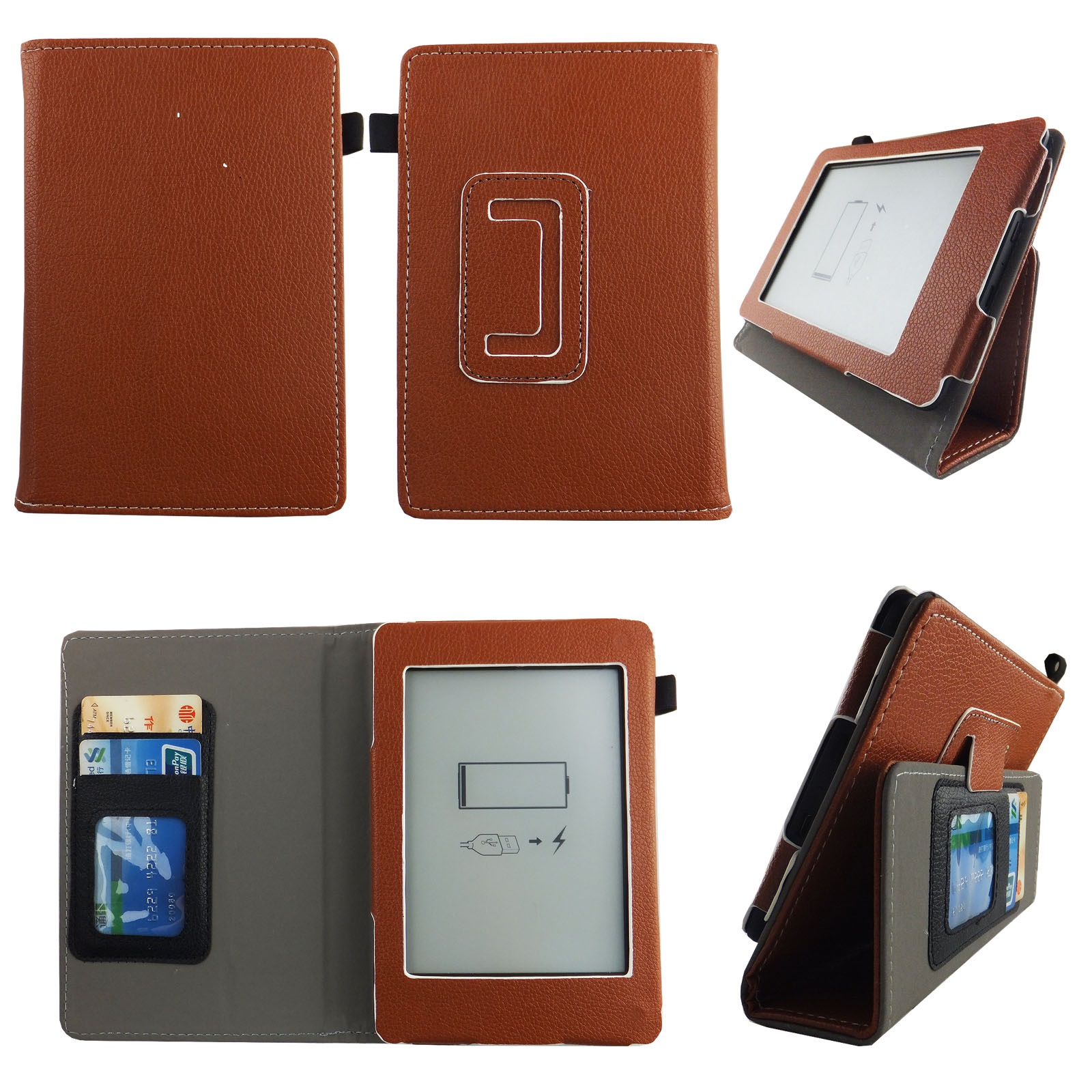 For kindle paperwhite Case 6 inch Slim Thinnest PU Leather Folio Stand Book Style Cover Travel E-reader Stylus ID Slots  Brown