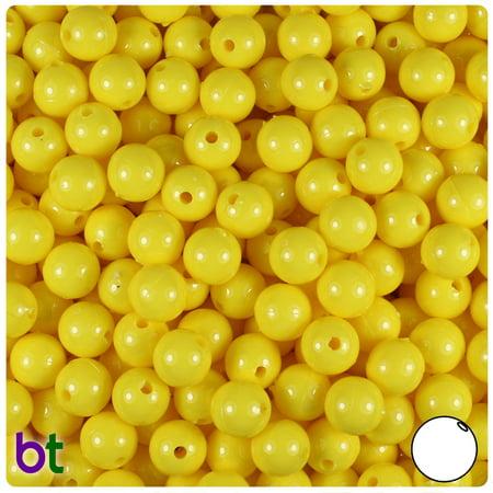 BeadTin Yellow Opaque 8mm Round Craft Beads (300pcs)
