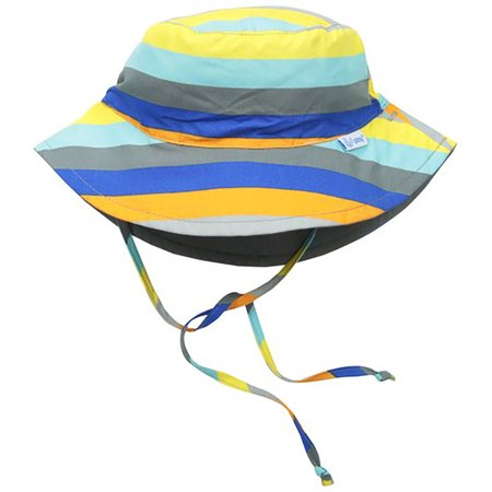 i play. Baby Reversible Bucket Sun Protection Hat, Gray/Multi Stripe, 9-18 Months - I Hat