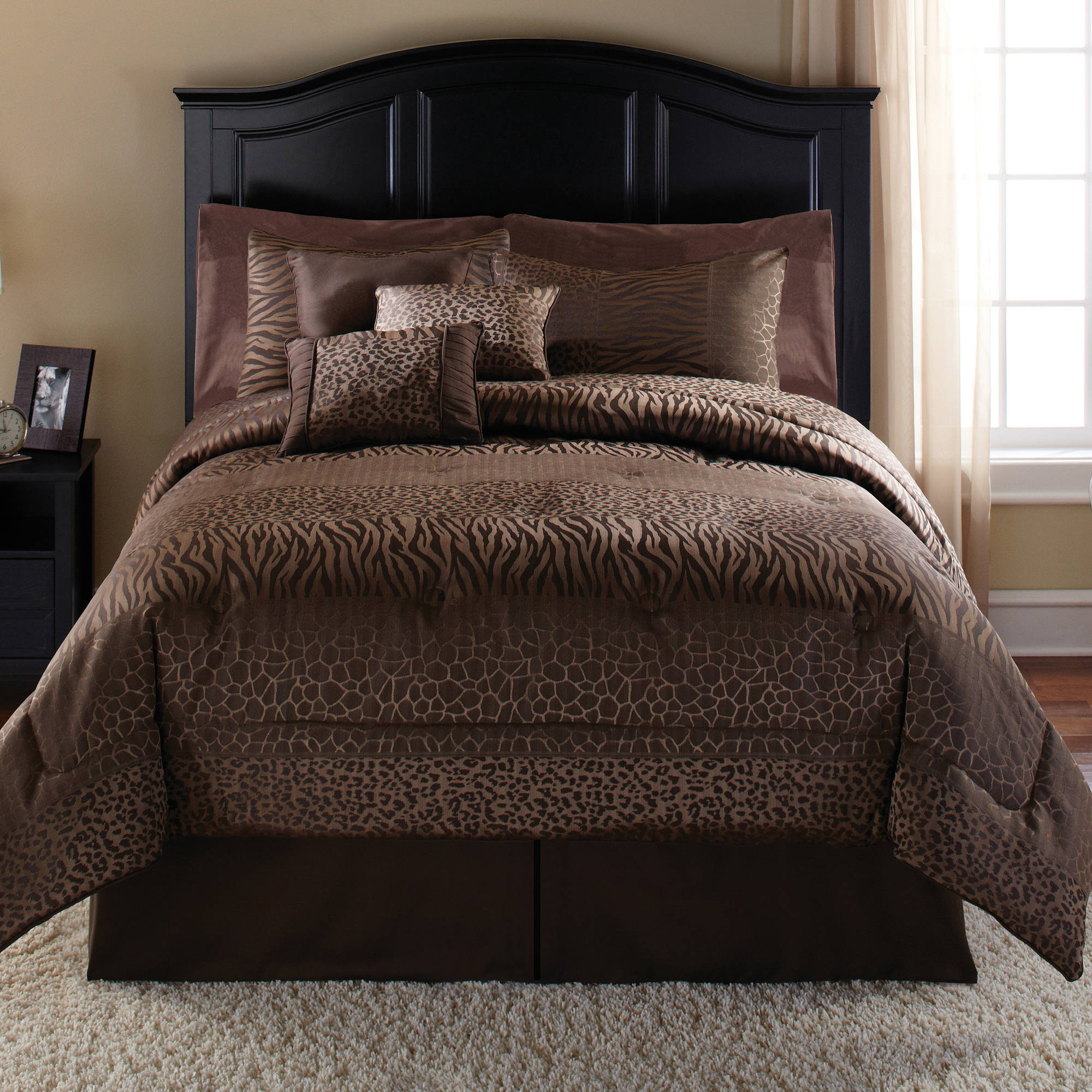 Bedding set king size bed in a bag 7 piece collection hotel home sheet brown new