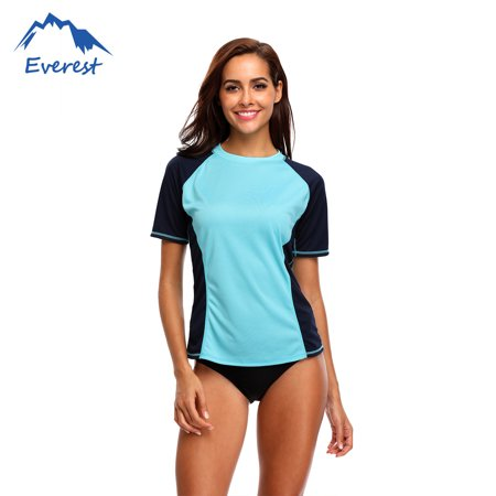 12b920b2 Reactionnx Women Plus Size Rash Guard Short Sleeve Rashguard Swimming Shirt  Athletic Swimwear Top, Blue