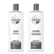 ($82 Value!) Nioxin System 2 Cleanser & Scalp Therapy Liter Duo, 33.8 Fl Oz