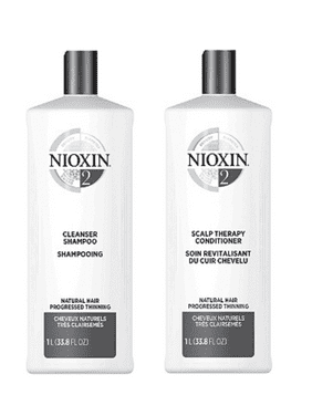 ($82 Value) Nioxin System 2 Cleanser & Scalp Therapy Liter Duo, 33.8 Fl Oz