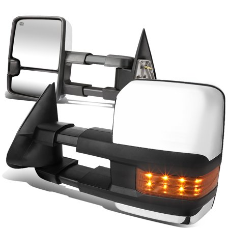 For 2003 to 2006 Avalanche / Tahoe Pair of Powered + Heated Signal Glass + Manual Extenable Chrome Side Towing Mirrors 04 - Side Power Chrome Mirror