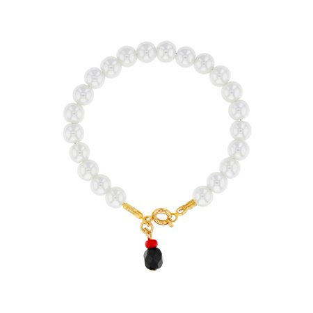 18k Gold Plated White Simulated Pearl Bracelet Evil Eye Protection Infants 5