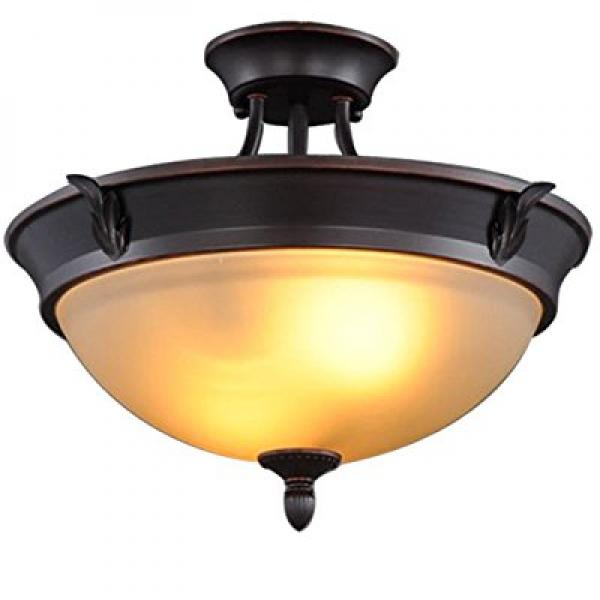 Hampton Bay 2-Light Bronze Semi-Flush Mount Light by Hampton Bay