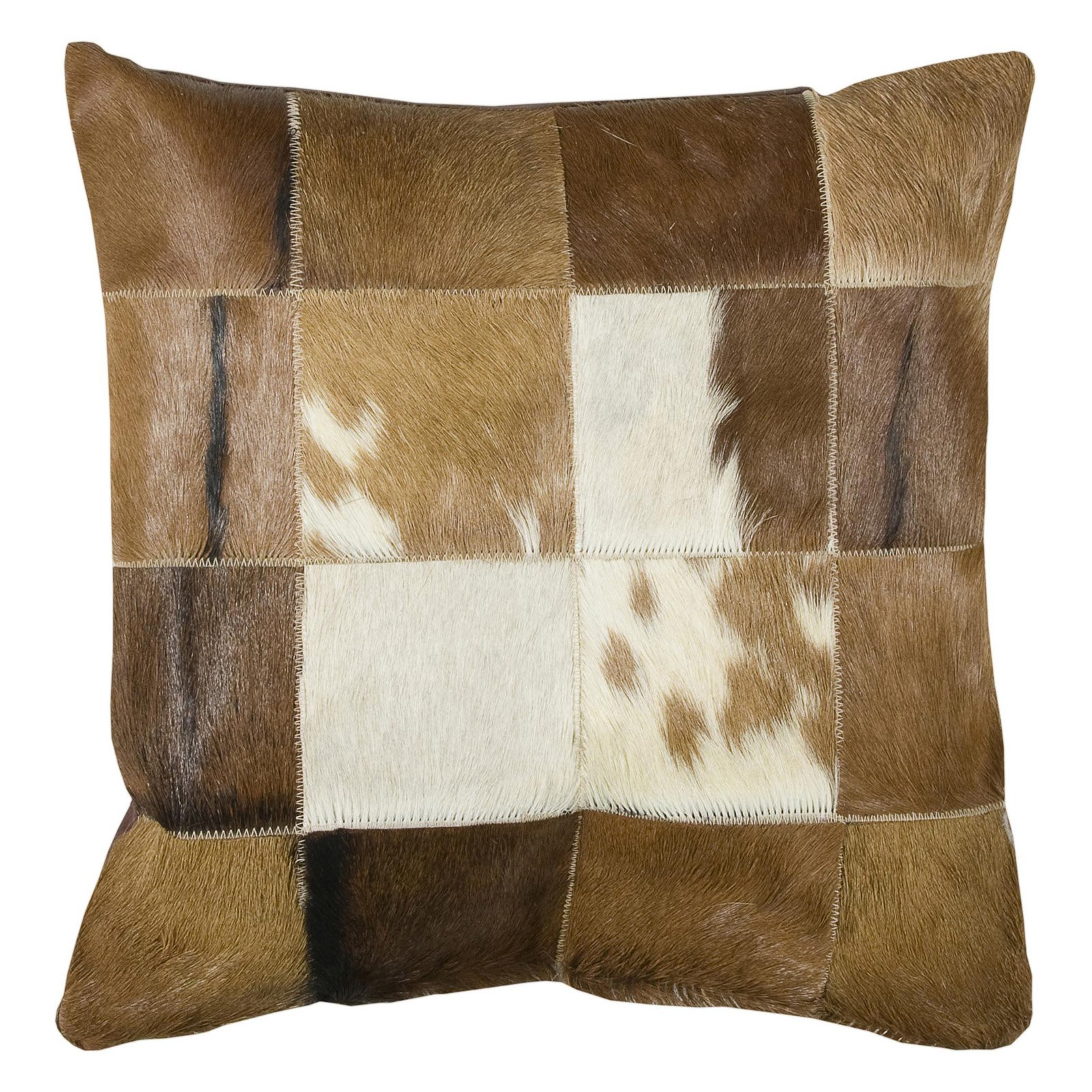 """Rizzy Home Decorative Poly Filled Throw Pillow Hair On Hide Squares 18""""X18"""" Brown"""