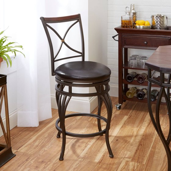 X back counter stool with wooden backrest accent