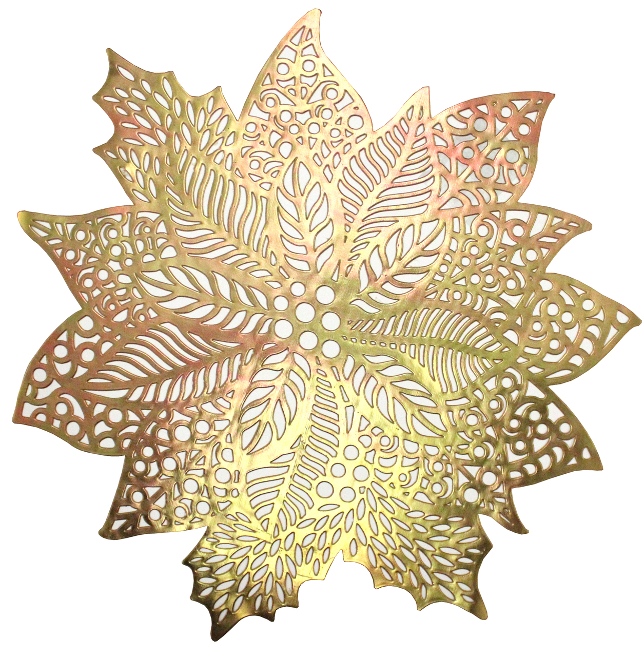 Amarillys Holiday Decorative Pvc Placemat Fl Design 15 Round Set Of 4 Gold Com