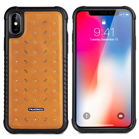 Military Grade Certified Star Series Genuine Italian Leather Shockproof Hybrid Case for iPhone XS / X - Brown Brown Italian Handcrafted Leather