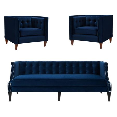 3 Piece Sofa Set of Tuxedo Sofa and Set of 2 Accent Chair in Navy Blue